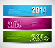 New year 2014 colorful three headers and banners Stock Photos