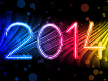2014 New Year Colorful Waves on Black Background Stock Photos