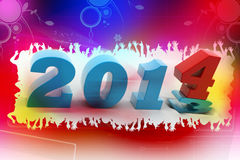 2014 New Year. In colour background royalty free illustration