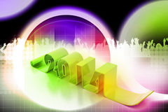 New year 2014. In colour background Royalty Free Stock Images