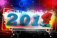 2014 New Year. In colour background stock illustration