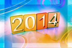 New year 2014. In colour background Royalty Free Stock Photos