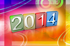 New year 2014. In colour background Stock Photography