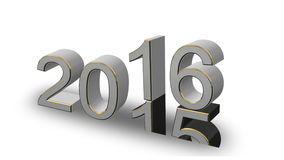 New Year 2016 -  coloured 3D numbers on a white background. New Year 2016 - gray, gold 3D numbers on a white background Stock Image