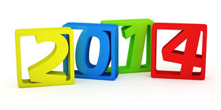 Colourful 2014 frames. New year 2014 colourful digits on the white background royalty free illustration