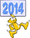 The new year 2014 comes running Royalty Free Stock Photo