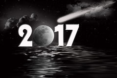 New Year 2017 comet and moon Stock Photos