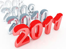 New year coming. Red 2011 3d background and old gray years stock illustration