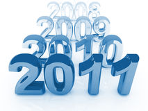 New year coming. Blue 2011 3d background and old gray years royalty free illustration
