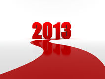 New year is coming. Red road going to new year 2013, 3d computer generated image Stock Photos