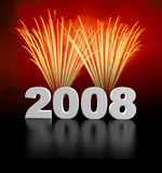 New year coming!. Hi res image of 2008 and fireworks Stock Images