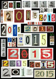 New year 2015. Is coming.  Background full of 2015 new year in different textures, colors and fonts Stock Photography