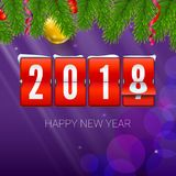 New Year is coming 2018. Background with mechanical clock, serpentine and Christmas ball. Happy New Year 3D illustration. With scoreboard, template for your vector illustration