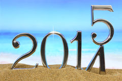 New year 2015. Is coming on the beach Royalty Free Stock Image