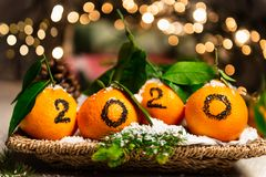 New Year 2020 is Coming Concep. T. Numbers written in Black Ink on the Oranges that are laying in the Basket with Pine Sticks and Xmas Lights on the Background royalty free stock photos