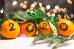 New Year 2020 is Coming Concep. T. Numbers written in Black Ink on the Oranges that are laying in the Basket with Pine Sticks and Xmas Lights on the Background stock images