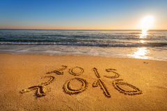 New Year 2016 is coming concept. Golden sands Stock Image