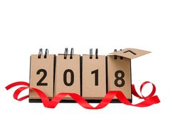 New Year 2018 is coming concept. Happy New Year 2018 replace 2017 and ribbon isolated on white background with copy space for your text. This picture have Royalty Free Stock Image