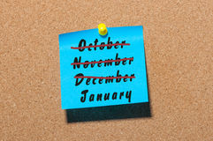 New Year is coming concept. January beginning and December, November, October end idea on notice board background Royalty Free Stock Photography