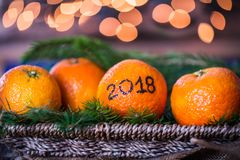 New Year 2018 is Coming Concept. Numbers written in Black Ink on the Oranges that are laying in the Basket with Pine Sticks and Xmas Lights on the Background royalty free stock image
