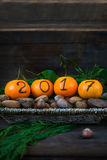 New Year 2017 is Coming Concept. Numbers written in Black Ink on the Oranges that are laying in the Basket with Pine Sticks and Nuts, Rustic Background stock image