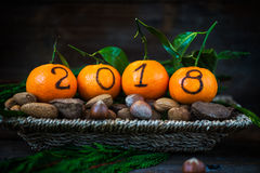 New Year 2018 is Coming Concept. Numbers written in Black Ink on the Oranges that are laying in the Basket with Pine Sticks and Nuts, Rustic Background stock photos