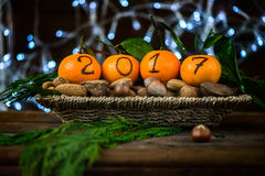 New Year 2017 is Coming Concept. Numbers written in Black Ink on the Oranges that are laying in the Basket with Pine Sticks, Nuts and Xmas Lights on the royalty free stock images