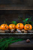 New Year 2018 is Coming Concept. Numbers written in Black Ink on the Oranges that are laying in the Basket with Pine Sticks and Nuts, Rustic Background stock images