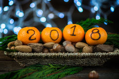 New Year 2018 is Coming Concept. Numbers written in Black Ink on the Oranges that are laying in the Basket with Pine Sticks, Nuts and Xmas Lights on the stock images