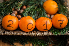 New Year 2017 is Coming Concept. Numbers written in Black Ink on the Oranges that are laying in the Basket with Pine Sticks and Xmas Lights on the Background royalty free stock photography