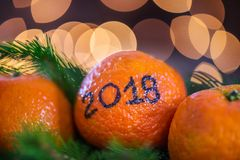 New Year 2018 is Coming Concept. Numbers written in Black Ink on the Oranges that are laying in the Basket with Pine Sticks and Xmas Lights on the Background royalty free stock photos