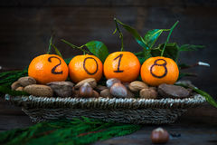 New Year 2018 is Coming Concept. Nuts, Fresh Clementines or Tangerines in the Basket and Xmas Tree Branches on Brown Wooden Background royalty free stock photography