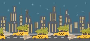 New Year coming, green tree on yellow taxi. Night Stock Photo
