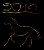 New Year 2014. New Year of 2014 coming, it is the year of horse Stock Image
