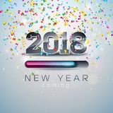 2018 New Year Coming Illustration with 3d Number and Progress Bar. 2018 New Year Coming Illustration with 3d Number and Progress Bar on Shiny Confetti Royalty Free Stock Photography