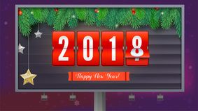 New Year is coming 2018. Background with mechanical clock, gold and silver stars. Happy New Year 3D illustration with scoreboard, template for your greeting vector illustration