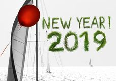 New year is coming with red air balloon and sail of dreams and hope