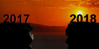 New year 2018 coming, sea background at sunset. 3d illustration Stock Photos