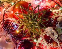 New Year coming soon. Christmas decorations, balls and garland Royalty Free Stock Images