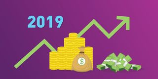 2019 new year company financial finance target with money cash and gold vector. Illustration royalty free illustration