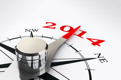 New year 2014 compass rose. On white background Royalty Free Stock Image