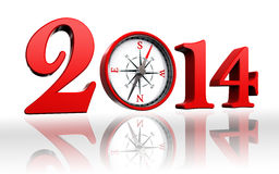 New year 2014 with compass. On white background Royalty Free Stock Photo