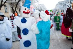 New year competition of snowmen. Royalty Free Stock Image