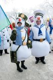 New year competition of snowmen. Stock Photo