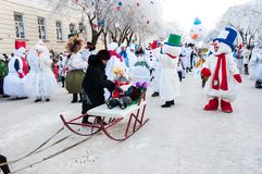 New year competition of snowmen. Stock Image