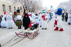 New year competition of snowmen. Stock Images