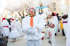 New year competition of snowmen... Stock Photos