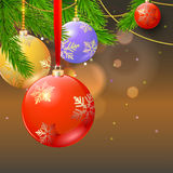 New year composition on blurred background. New year composition with firs branches and Christmas balls on blurred background Stock Photography