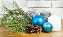 New Year 2017 composition with bright blue ball and white and gr Royalty Free Stock Images