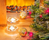 New year composition with candle and  ball Royalty Free Stock Photos